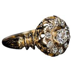 Ornate Antique Victorian Old Mine Cut Diamond Ring