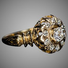 Ornate Antique Victorian Old Mine Cut Diamond Ring