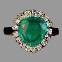 Antique Georgian c.1800 Emerald Diamond Heart Shaped Ring
