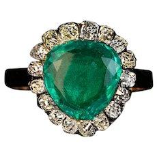 Antique Georgian c.1800 Emerald Diamond Heart Shaped Ring
