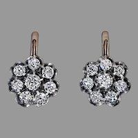 Antique Russian 1.50 Ct Old Mine Cut Diamond Cluster Earrings
