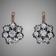 Antique Russian 1.50 Ct Old Mine Cut Diamond Cluster Earrings