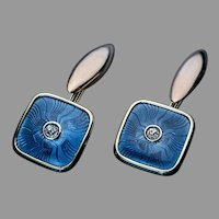 Antique FABERGE Blue Enamel Diamond Gold Cufflinks