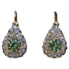Antique Russian Demantoid Rose Cut Diamond 14K Gold Earrings
