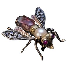 Antique Late 19th Century Jeweled Gold Insect Brooch