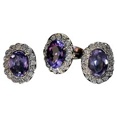Vintage Russian Amethyst Diamond 14K Gold Ring and Earrings