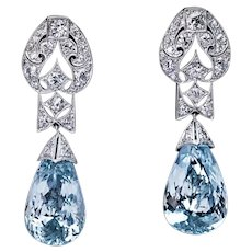 Art Deco Vintage Aquamarine Diamond Platinum Earrings