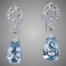 Art Deco Vintage Aquamarine Diamond Platinum Earrings