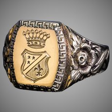 Vintage Austrian Engraved Gold Armorial Signet Ring