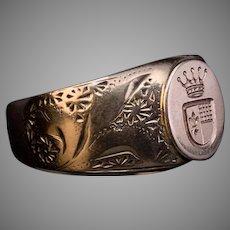 Antique Art Nouveau Egraved Gold Armorial Signet Ring