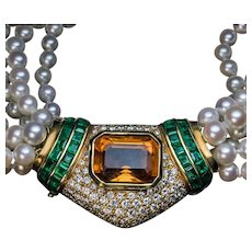 Vintage Multi Strand Pearl Necklace with Jeweled Gold Clasp