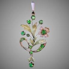 Art Nouveau Antique Russian Two Color Gold Demantoid Garnet Pendant