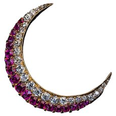 Antique Russian Diamond Ruby Gold Crescent Moon Brooch