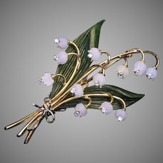 Lilly of the Valley Jade Rock Crystal Diamond Gold Vintage Brooch