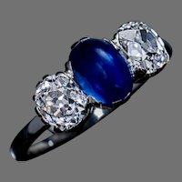 Vintage Sapphire Diamond Three Stone Engagement Ring