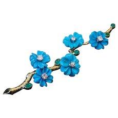 Vintage Turquoise Diamond Emerald Gold Flower Brooch
