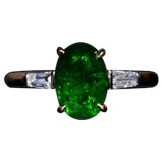 Rare Russian 2.33 Ct Demantoid Diamond Gold Engagement Ring
