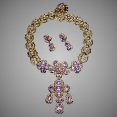 Antique Georgian Era Pink Topaz Gold Necklace and Earrings