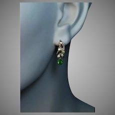 Art Nouveau Antique Russian Demantoid Garnet Gold Earrings