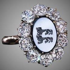 Unique Antique Armorial Intaglio Diamond Cluster Ring