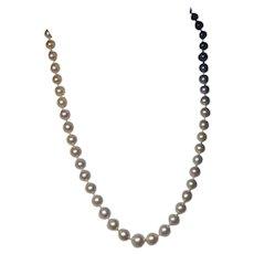 Vintage Pearl Sapphire Diamond White Gold Necklace