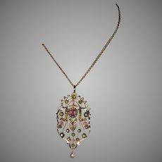 Art Nouveau Antique Russian Tourmaline Demantoid Pearl Necklace