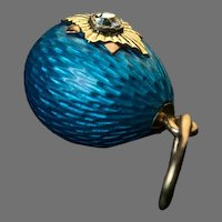 Antique Russian Turquoise Guilloche Enamel Egg Pendant