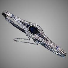 Art Deco Antique French Sapphire Diamond Platinum Bracelet