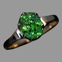 Rare 2.03 Carat Russian Demantoid and Gold Vintage Ring