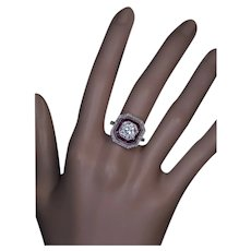 Art Deco 2.67 Ct Diamond Ruby Platinum Engagement Ring