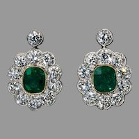 Antique Emerald Diamond Platinum Gold Earrings