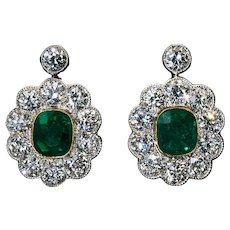 Antique Emerald Diamond Platinum Gold Earrings