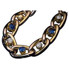 Antique Victorian Sapphire Diamond Gold Link Bracelet Ref: 447862