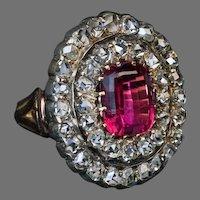 Antique 19th Century Rubellite Rose Cut Diamond Ring Ref:772404