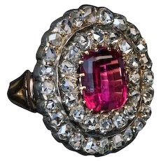 Antique 19th Century Rubellite Rose Cut Diamond Ring Ref:772404