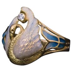 French Art Nouveau Swan Motif Enamel Ring Ref: 624775