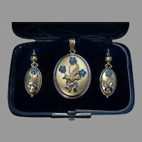Antique Victorian Pendant Locket and Earrings Ref: 885247