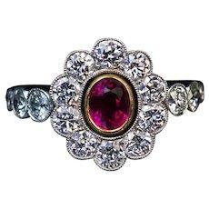 Antique Ruby Diamond Platinum Engagement Ring Ref: 328254