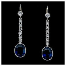 Art Deco Vintage Sapphire Diamond Dangle Earrings Ref: 327642