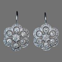 Antique Edwardian Platinum Diamond Earrings Ref: 282604