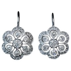 Antique Edwardian Platinum Diamond Earrings Ref: 282604