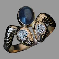 Antique Alexandrite Diamond Gold Snake Ring Ref: 552384