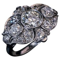 Art Deco Era Ornate Diamond and Platinum Ring