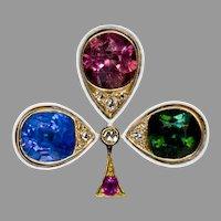 Belle Epoque Antique Jeweled Gold Trefoil Brooch Ref: 365288