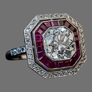 Art Deco 2.67 Ct Diamond Ruby Platinum Engagement Ring Ref: 485690