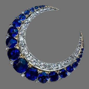 Antique Victorian Sapphire Diamond Crescent Brooch Ref: 523448