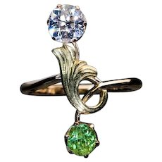 Antique Demantoid Diamond Art Nouveau Ring Ref: 658432