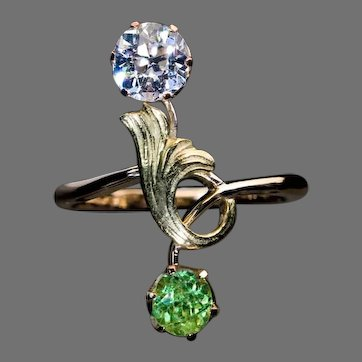 Antique Demantoid Diamond Art Nouveau Ring Ref: 658432