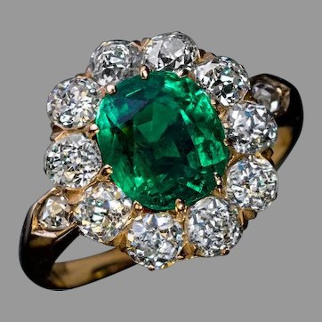 Antique Colombian Emerald Diamond Engagement Ring Ref: 550430
