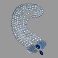Art Deco Vintage Pearl Sapphire Diamond Rock Crystal Necklace